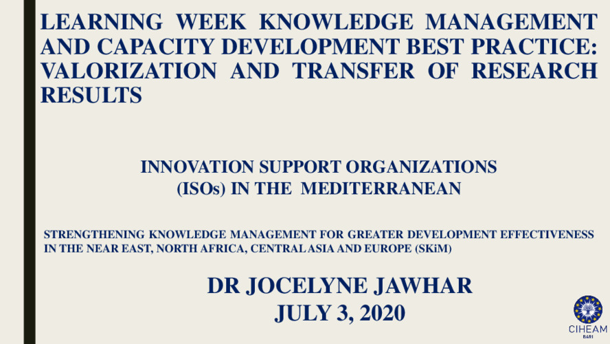 2020 SKiM Learning Week - Innovation Support Organizations (ISOs) in the Mediterranean