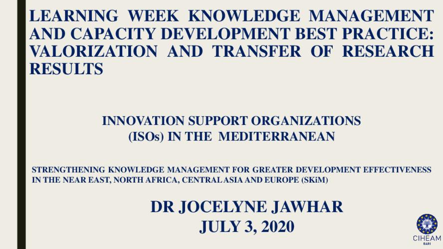 2020 SKiM Learning Week - Innovation Support Organizations (ISOs) in the Mediterranean