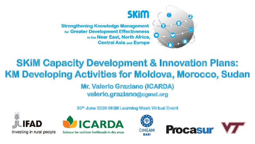 2020 SKiM Learning Week - Capacity Development & Innovation Plans