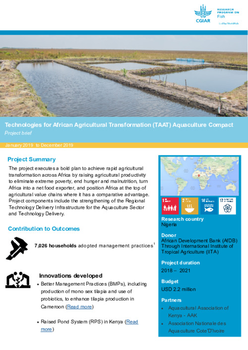 Technologies for African Agricultural Transformation (TAAT) Aquaculture Compact. Project brief January 2019 to December 2019
