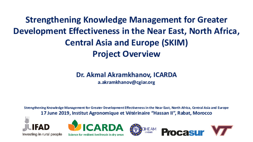 Strengthening knowledge management for greater development effectiveness in the Near East, North Africa, Central Asia and Europe