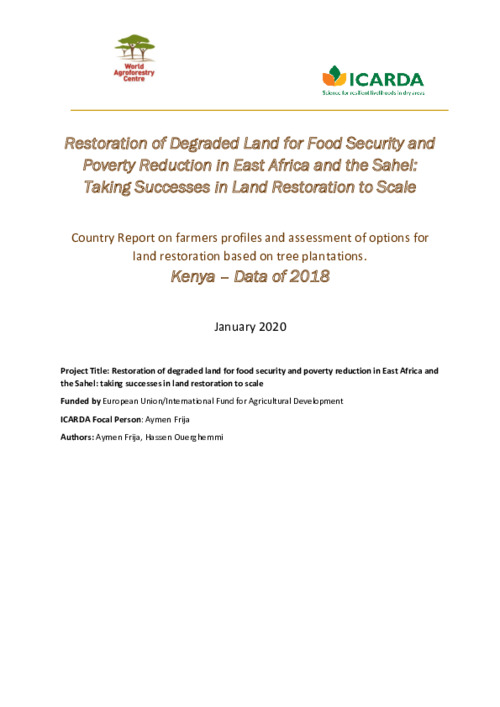 Country Report on farmers profiles and assessment of options for land restoration based on tree plantations. Kenya – Data of 2018
