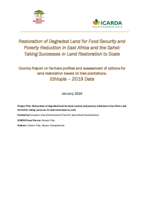 Country Report on farmers profiles and assessment of options for land restoration based on tree plantations. Ethiopia – 2019 Data