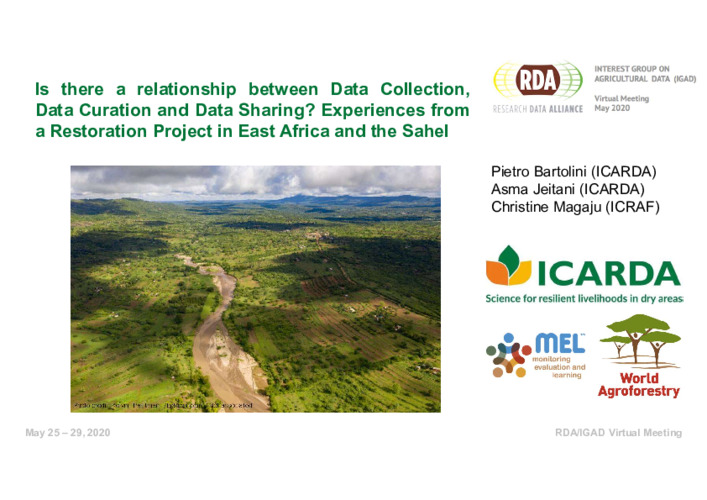 Is there a relationship between data collection, data curation and data sharing? Experiences from a restoration project in East Africa and the Sahel
