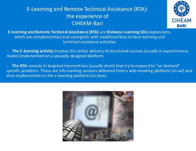2020 SKiM Learning Week - ICT and RTA, the Experience of CIHEAM-Bari