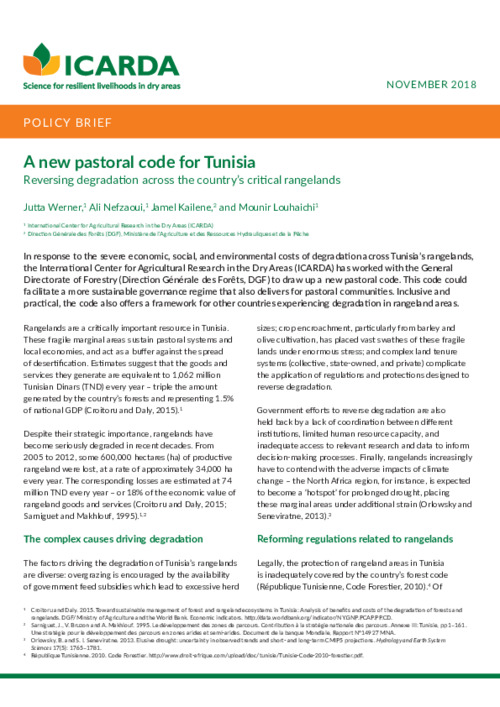 A new pastoral code for Tunisia: Reversing degradation across the