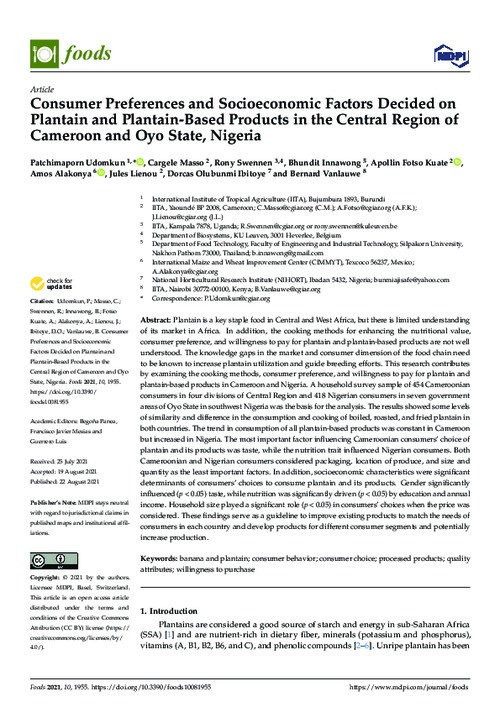 Consumer Preferences and Socioeconomic Factors Decided on Plantain and Plantain-Based Products in the Central Region of Cameroon and Oyo State, Nigeria
