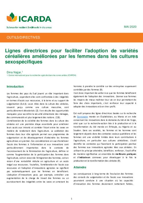 Lignes directrices pour faciliter l'adoption de variétés céréalières améliorées par les femmes dans les cultures sexospécifiques