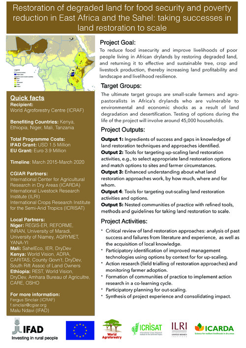 Restoration of degraded land for food security and poverty reduction in East Africa and the Sahel: taking successes in land restoration to scale_Project brochure