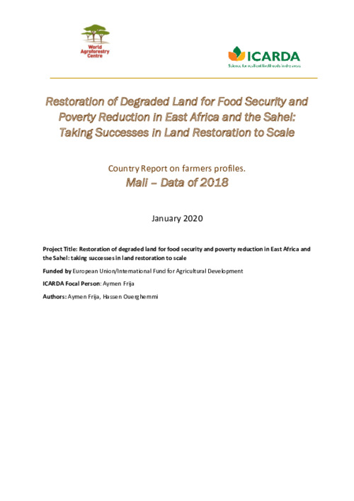 Restoration of Degraded Land for Food Security and Poverty Reduction in East Africa and the Sahel: Taking Successes in Land Restoration to Scale - Country Report on farmers profiles. Mali – Data of 2018