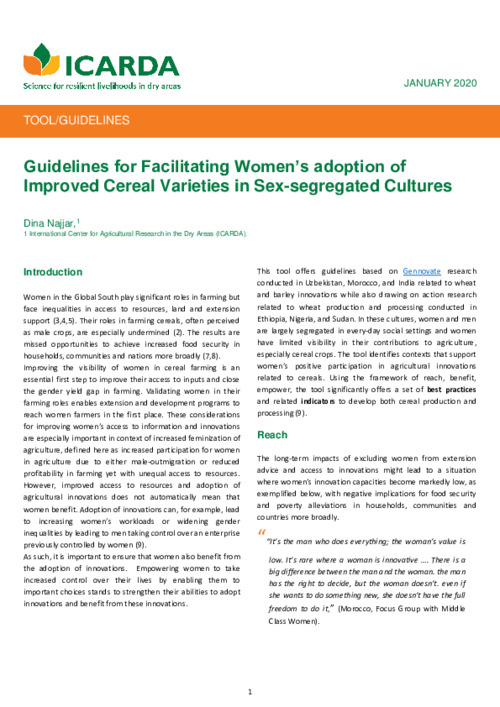 Guidelines for Facilitating Women's adoption of Improved Cereal Varieties in Sex-segregated Cultures