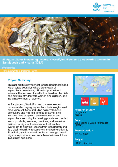 Aquaculture: increasing income, diversifying diets, and empowering women in Bangladesh and Nigeria (IDEA). Project brief November 2018 to December 2019