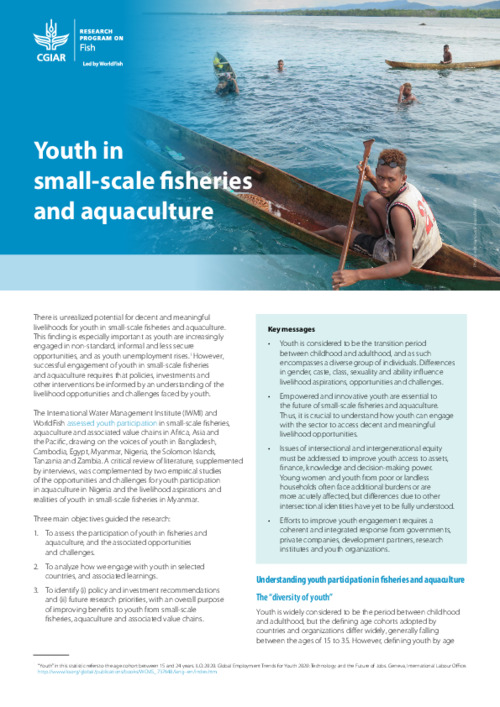 Youth in small-scale fisheries and aquaculture