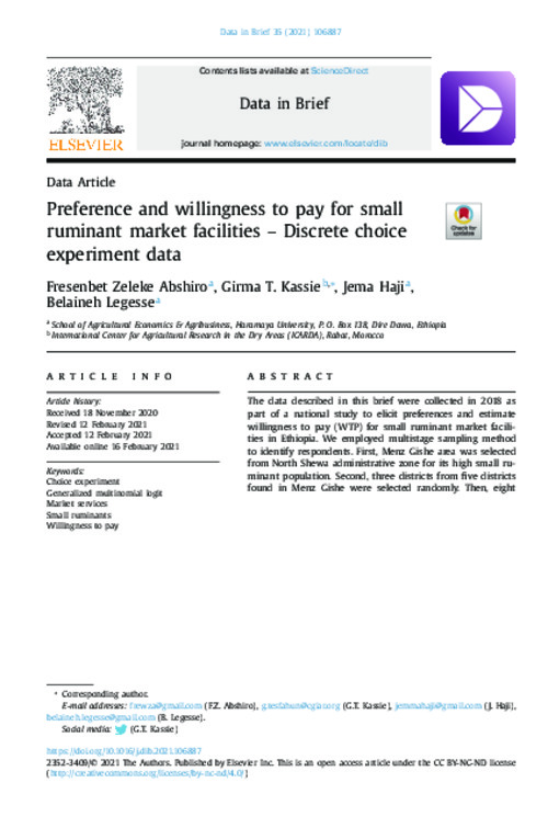 Preference and willingness to pay for small ruminant market facilities – Discrete choice experiment data