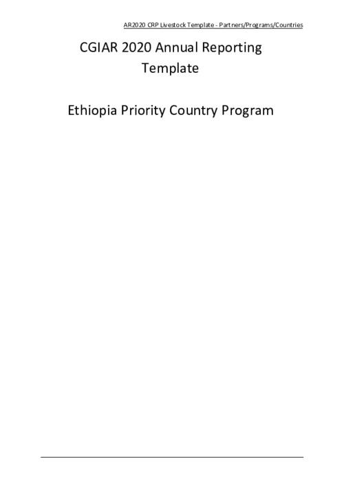 Livestock CRP- Ethiopia 2020 Annual Report