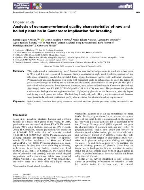 Analysis of consumer‐oriented quality characteristics of raw and boiled plantains in Cameroon: implication for breeding