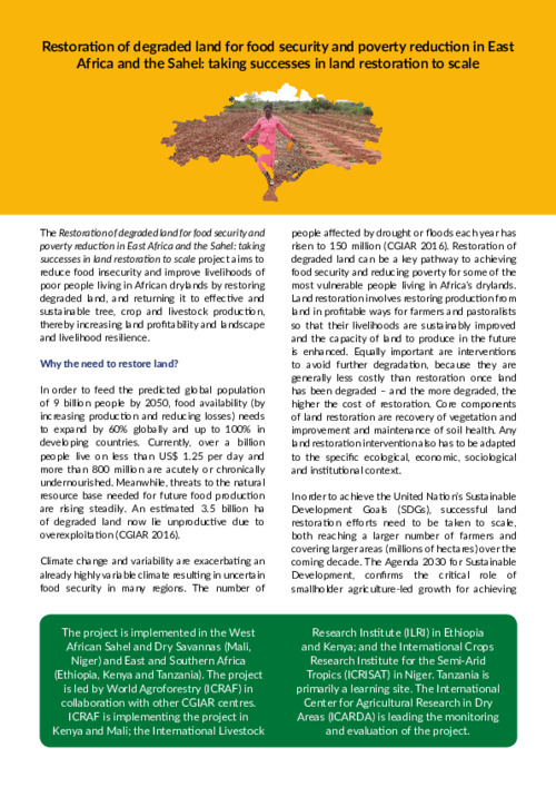 Restoration of degraded land for food security and poverty reduction in East Africa and the Sahel: taking successes in land restoration to scale