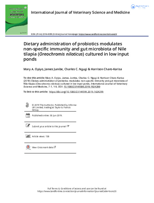 Dietary administration of probiotics modulates non-specific immunity and gut microbiota of Nile tilapia (Oreochromis niloticus) cultured in low input ponds