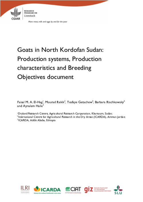 Goats in North Kordofan Sudan: Production systems, Production characteristics and Breeding Objectives