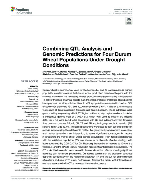 Combining QTL Analysis and Genomic Predictions for Four Durum Wheat Populations Under Drought Conditions