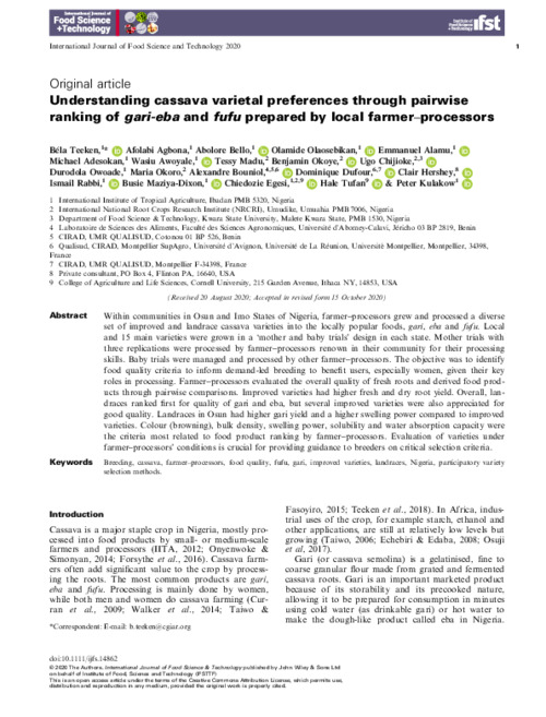 Understanding cassava varietal preferences through pairwise ranking of gari-eba and fufu prepared by local farmer–processors
