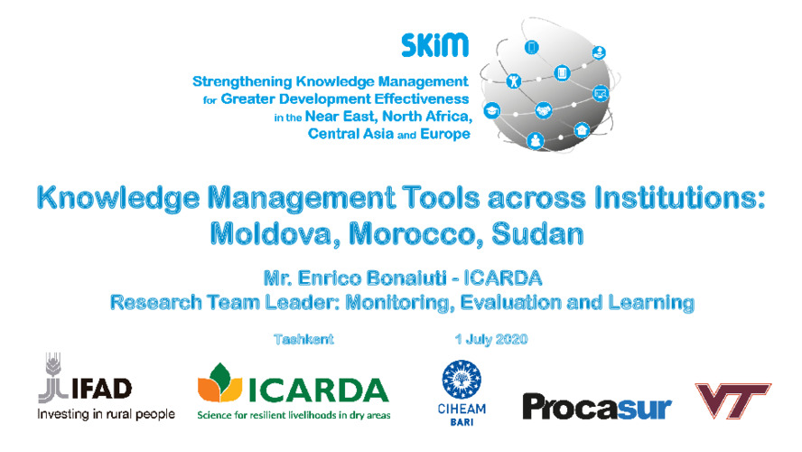 2020 SKiM Learning Week - Knowledge Management Tools across Institutions in Moldova, Morocco and Sudan