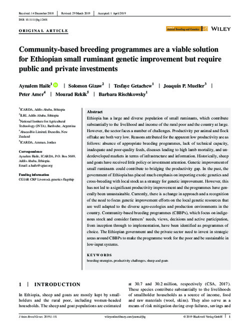 Community‐based breeding programmes are a viable solution for Ethiopian small ruminant genetic improvement but require public and private investment