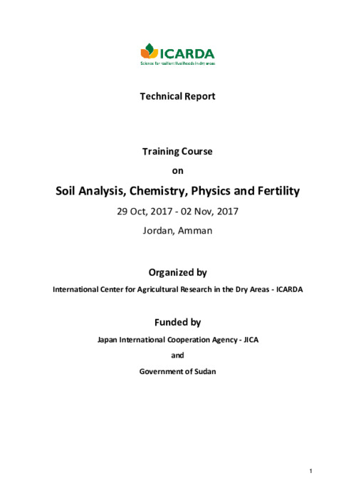 Training Course on Soil Analysis Amman October/November 2017_Technical Report