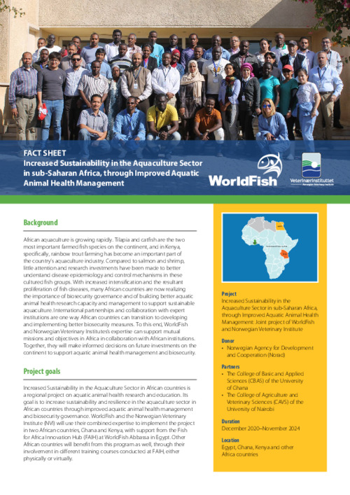 Increased Sustainability in the Aquaculture Sector in sub-Saharan Africa, through Improved Aquatic Animal Health Management