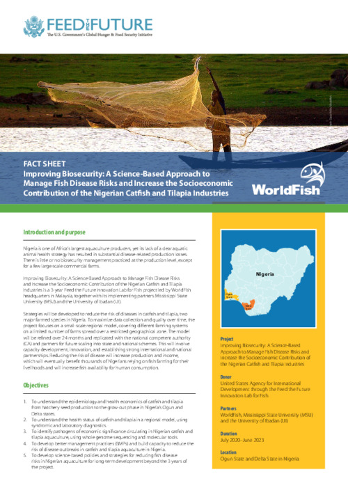 Improving Biosecurity: A Science-Based Approach to Manage Fish Disease Risks and Increase the Socioeconomic Contribution of the Nigerian Catfish and Tilapia Industries